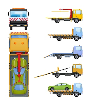 Set of tow trucks with sliding platform, hydraulic manipulator, crane.