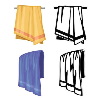 Set of towels - cartoon style and outline towels isolated on white