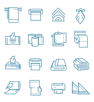 Set of towels and napkins icons with outline style