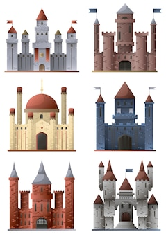 Set of towers and castles