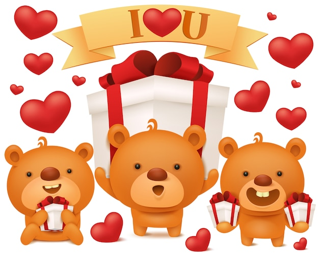 Set of toy emoji teddy bears with gift boxes. birthday collection