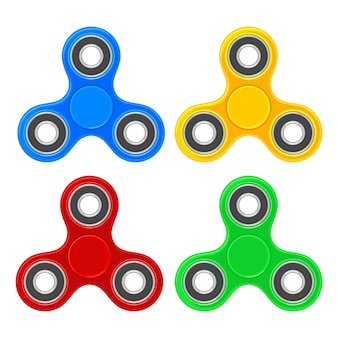 Set toy spinner.  flat color illustration. isolated on white
