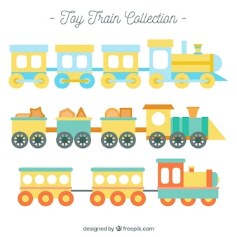 Set of toy trains in pastel colors