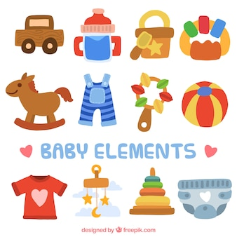 Set of toys and baby items