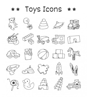 Set of toys icons in doodle style