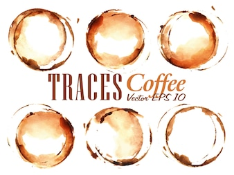 Set Traces Cup drawn pour coffee