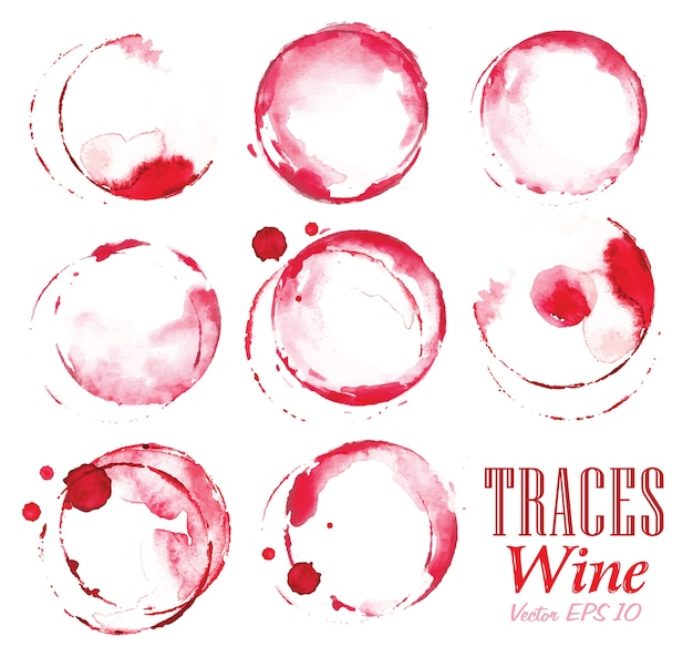 Set traces red wine marks