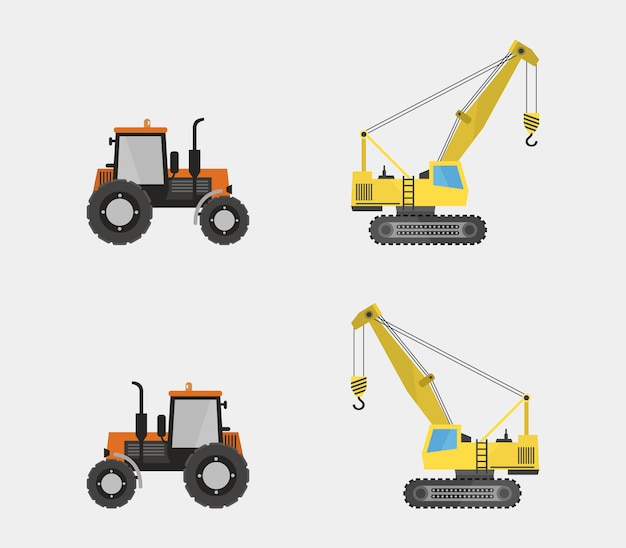 Set of tractor and crane