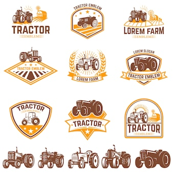 Set of tractor emblems. farmers market.  element for logo, label, sign.  illustration
