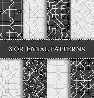 Set of traditional arabian seamless pattern