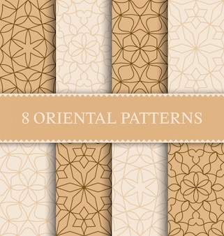 Set of traditional arabian seamless pattern,