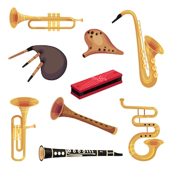 Set of traditional and classic perfume instruments. bagpipe, pipe, saxophone, mouth organ.  illustration on white background.
