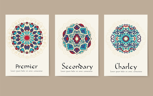 Set of traditional flyer pages ornament set concept. vintage art traditional ottoman motifs.