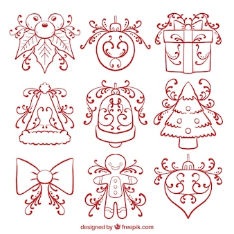 Set of traditional hand drawn decorative christmas elements