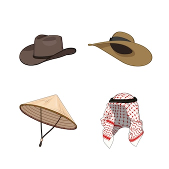 Set of traditional hats and head accessories. chinese or vietnamese triangle bamboo hat, cowboy nad lady hats, arabic muslim head scarf.