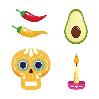 Набор традиционных иконок, празднование независимости мексики