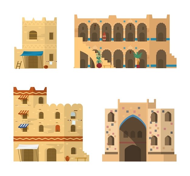 Set of traditional islamic architecture. mud brick buildings with mosaics, ornaments and awnings.   illustration.