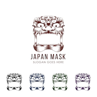 Set of traditional japanese demon mask devil illustration. flat color. isolated on white .