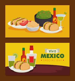 Set traditional mexican food to celebration event banner
