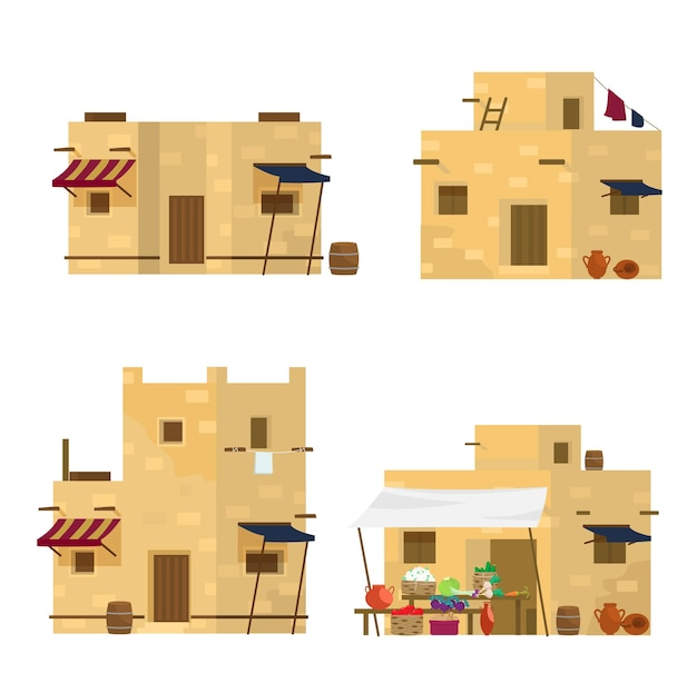 Set of traditional middle eastern houses and market. arabian architecture.