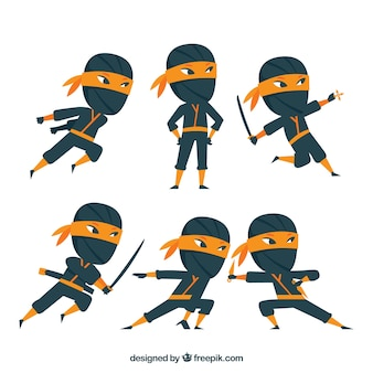 Set of traditional ninja character with flat design