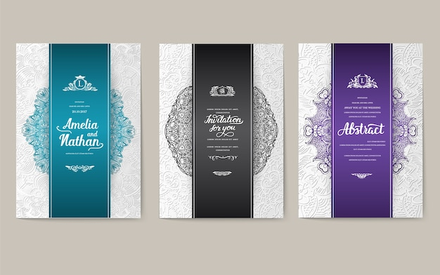 Set of traditional posters with typography for printing