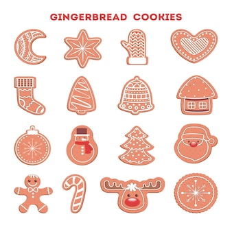Set of traditional sweet baked christmas cookie. gingerbread for celebration table. delicious dessert.   illustration
