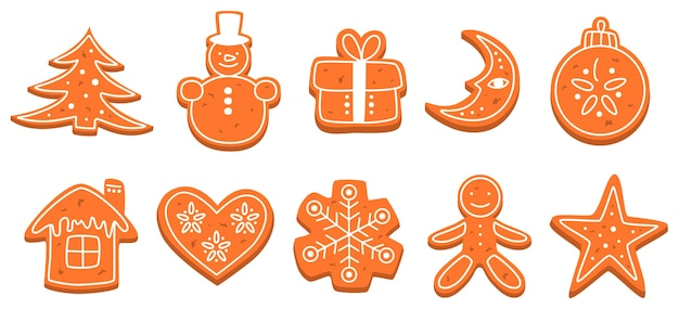 Set of traditional sweet baked christmas cookie. gingerbread for celebration table. delicious dessert. isolated flat vector illustration