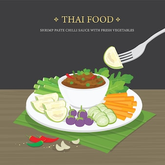 Set of traditional thai food, shrimp paste chili sauce (nam prik ka pi) with fresh vegetables. cartoon illustration.