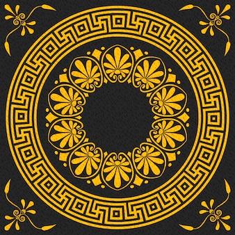 Установите традиционный винтажный золотой квадрат и круглый греческий орнамент (меандр) и цветочные на черном фоне