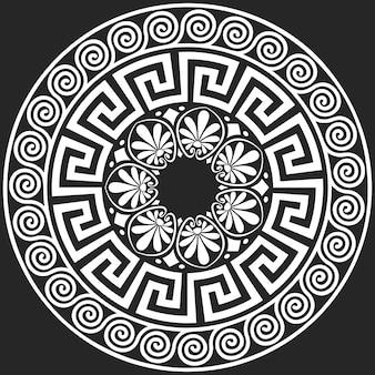 Set traditional vintage white round greek ornament (meander)