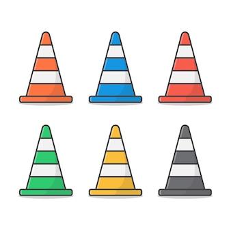 Set of traffic cone. road cone flat
