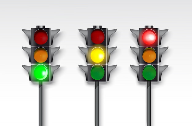 Set of traffic lights on a white background. burning green, red and green.