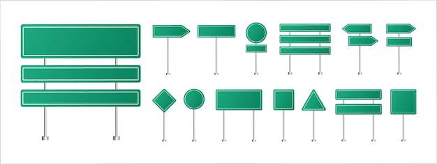 Set of traffic signs green road signposts