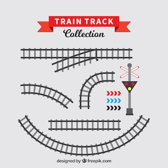 Set of train tracks in flat design