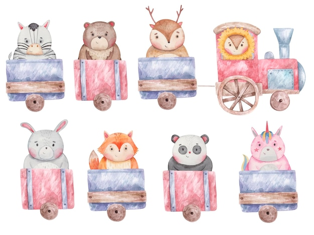 Set of train, wagons with different cute animals