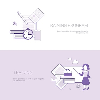 Set of training program banners business concept template background with copy space