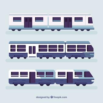 Set di treni nei toni del blu