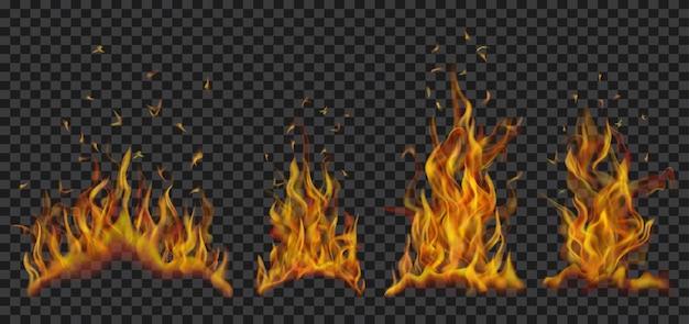 Set of translucent burning campfires of flames and sparks on transparent background