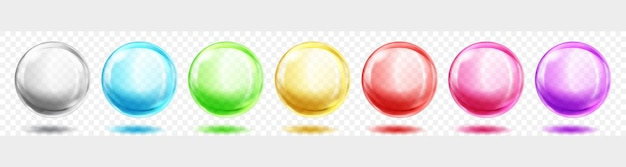 Set of translucent colored spheres with shadows on transparent background