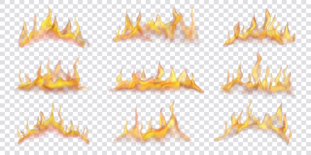 Set of translucent horizontal fire flames on transparent background