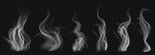 Set of translucent white smoke on transparent