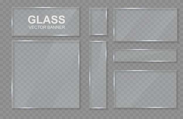 Set of transparent banners made of glass. glass frame.