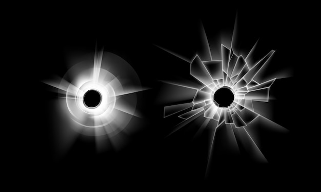 Set of transparent crack broken glass window with two bullet holes close up isolated on dark black background