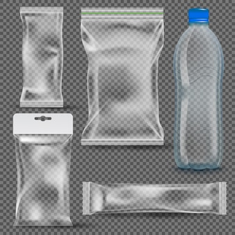 Set of transparent empty plastic packaging
