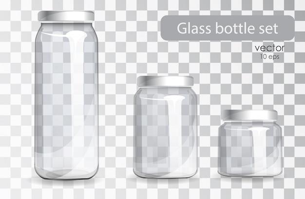 Set of transparent glass bottles