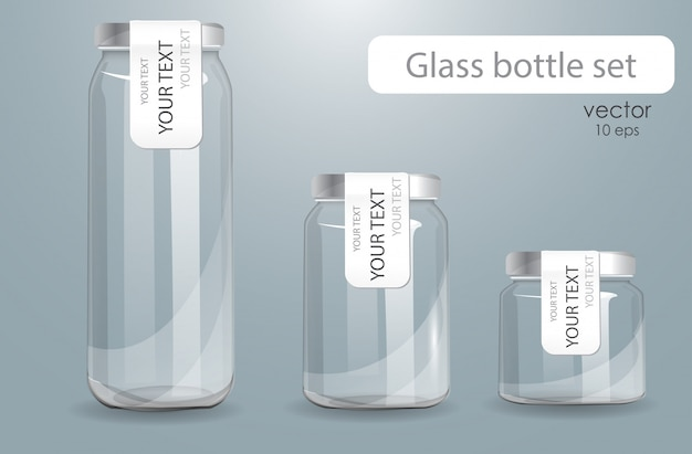 Set of transparent glass bottles.