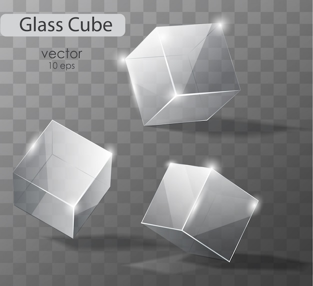 Set on a transparent glass cubes in different angles. realistic  object.