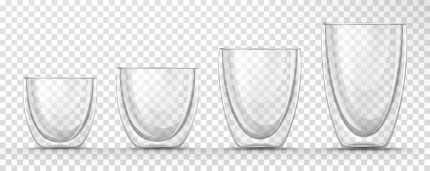 Set of  transparent glass empty cups different sizes with double walls