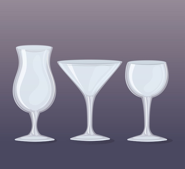 Set of transparent glasses, cups of wine and cocktails